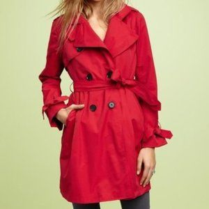 Gap Red Pleated Double Breasted Belted Trench Coat